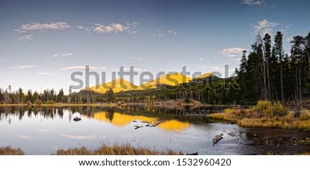 Golden Hour Panorama Of Sprague Lake In Rocky Mountains National Park - Estes Park Colorado #1532960420