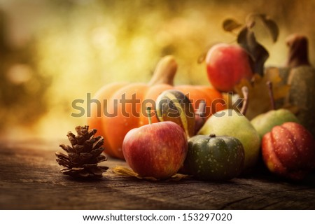 Autumn nature concept. Fall fruit and vegetables on wood. Thanksgiving dinner Royalty-Free Stock Photo #153297020
