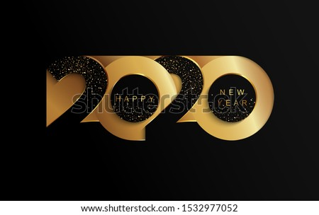 Happy 2020 new year golden papercut banner in paper style for your seasonal holidays flyers, greetings and invitations, christmas themed congratulations and cards. Vector illustration. #1532977052
