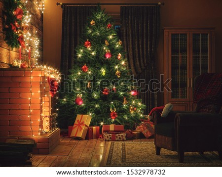 3D Rendering Christmas interior in night colors #1532978732