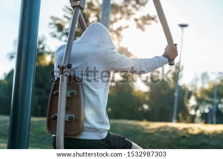 Young male morning workout rutine on bridge outdoors. Healthy Lifestyle. Cardiovascular workouts - Stock Image #1532987303