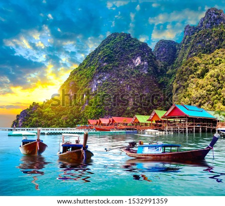 Scenic Phuket landscape.Seascape and paradisiacal  idyllic beach. Scenery Thailand sea and island .Adventures and exotic travel concept Royalty-Free Stock Photo #1532991359