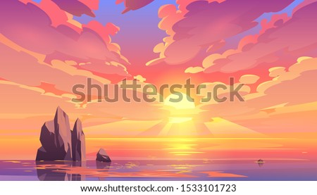 Sunset or sunrise in ocean, nature landscape background, pink clouds flying in sky to shining sun above sea with rocks sticking up of water surface. Evening or morning view Cartoon vector illustration #1533101723