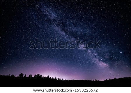 Milky Way and Jupiter Planet in the night sky.