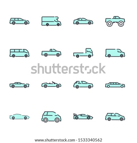 simple car set icon template color editable. car pack symbol vector sign isolated on white background illustration for graphic and web design. #1533340562