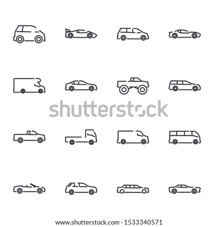 simple car set icon template color editable. car pack symbol vector sign isolated on white background illustration for graphic and web design. #1533340571