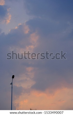 Lonely streetlight in the beautiful sunset at sunset. Modern metal street lights and summer dusk sky form an abstract silhouette. #1533490007