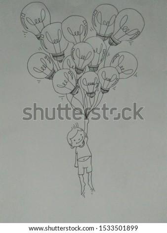 Boy carried or bring bulb balloon #1533501899