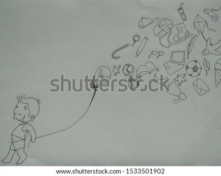 Boy carried or bring bulb balloon #1533501902