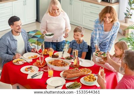 Big family having dinner at home #1533544361