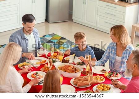Big family having dinner at home #1533544367