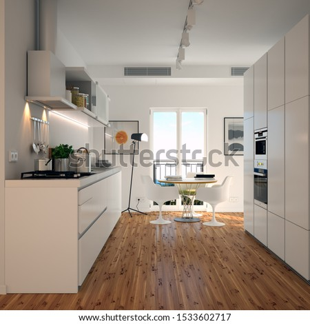 modern kitchen with props in loft apartment 3d rendering #1533602717