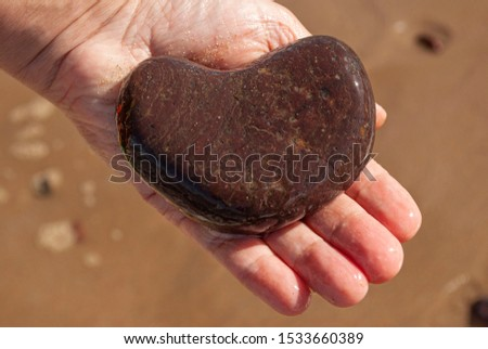 Heart-shaped stone in the hand. #1533660389