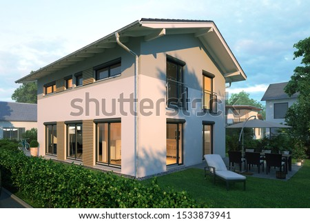 european family house in at dawn - 3d rendering #1533873941