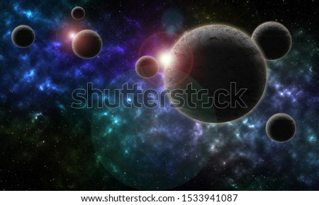 Star and nebula system, spherical panorama, illustration #1533941087