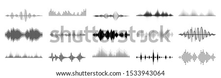 Black sound waves. Abstract music wave, radio signal frequency and digital voice visualisation. Tune equalizer vector set. Monochrome volume audio lines, soundwaves rhythm isolated on white background #1533943064