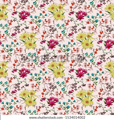 Textile digital background multi color flower pattern #1534014002