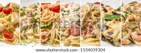 Collage of dishes from different types of pasta #1534039304