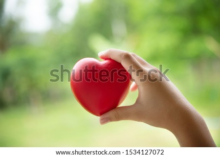 hand of child holding a red of rubber heart with green grass background. Showed the coordination, collaboration of business or requires sacrifice, attention, unity, charity, care or love of human #1534127072