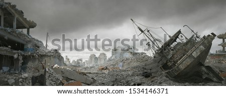 Post apocalyptic wasteland and city of ruins. Royalty-Free Stock Photo #1534146371