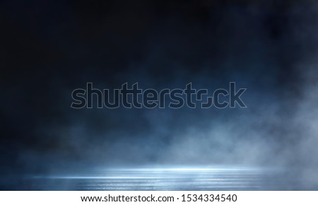Dark street, wet asphalt, reflections of rays in the water. Abstract dark blue background, smoke, smog. Empty dark scene, neon light, spotlights. Concrete floor #1534334540