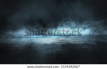 Dark street, wet asphalt, reflections of rays in the water. Abstract dark blue background, smoke, smog. Empty dark scene, neon light, spotlights. Concrete floor #1534342067