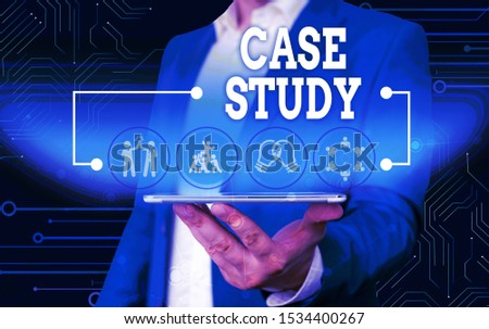 Conceptual hand writing showing Case Study. Business photo text A subject matter to be discussed and related to the topic Male wear formal work suit presenting presentation smart device. #1534400267