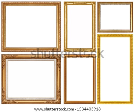 Luxury golden glitter picture frame isolated on a white background #1534403918