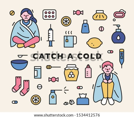 A man and a woman with a cold are shaking with a blanket. Good things for a cold. outline style icon set. flat design style minimal vector illustration. #1534412576