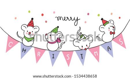 Cartoon cute Christmas  sweet mouses vector. #1534438658