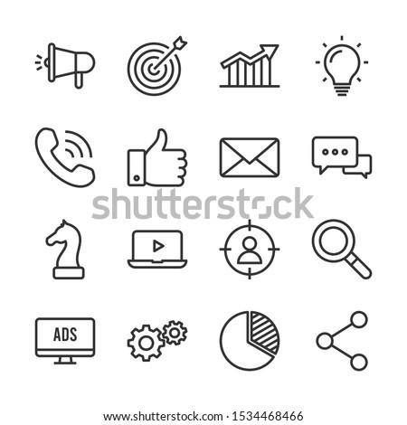 Marketing vector line icons set