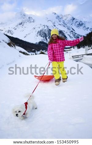 Winter, sledding, child, snow - young girl with dog enjoying winter #153450995