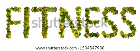 Fitness. Healthy lifestyle and nutrition. English alphabet. Text from the products. Broccoli, asparagus, carrots. Designer font. Vegetable Font. #1534547930
