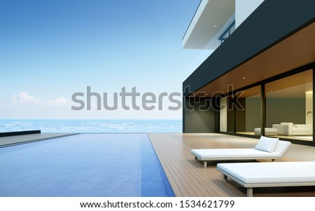 Perspective of modern luxury house with wood terrace and swimming pool on sea view background,Idea of minimal architecture design. 3D rendering. #1534621799