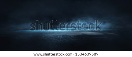 Dark street, wet asphalt, reflections of rays in the water. Abstract dark blue background, smoke, smog. Empty dark scene, neon light, spotlights. Concrete floor #1534639589