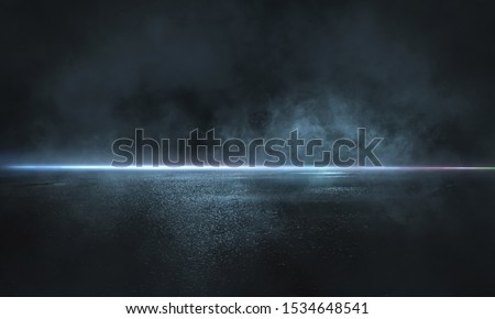 Dark street, wet asphalt, reflections of rays in the water. Abstract dark blue background, smoke, smog. Empty dark scene, neon light, spotlights. Concrete floor #1534648541