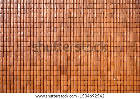 Top view of pattern tiles roof of house, Texture background                                #1534692542