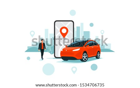 Vector illustration of autonomous online car sharing service controlled via smartphone app. Phone with location mark and smart car with modern city skyline. Isolated connected vehicle remote parking.  #1534706735