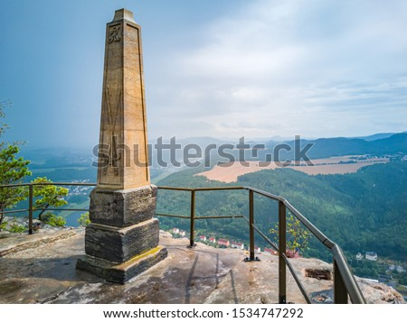 Elbe Sandstone Mountains (Saxon Switzerland), Saxony, Germany, obelisk on the Lilienstein rock to commemorate the ascent by King August der Starke and panoramic view over the Elbe valley. #1534747292