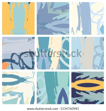 Abstract collage asymmetric pattern. Brush strokes grunge texture. Vector colorful ornament, patchwork quilt style. Digital freehand art backgrounds set for flyer, poster, cover, textile fabric print #1534760981