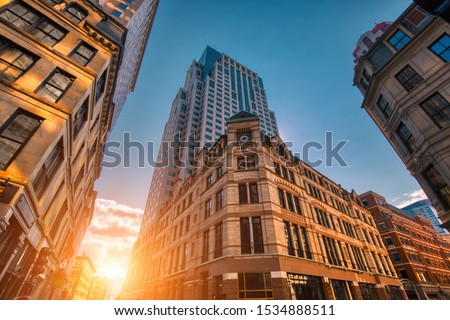Scenic Boston downtown financial district and city skyline Royalty-Free Stock Photo #1534888511