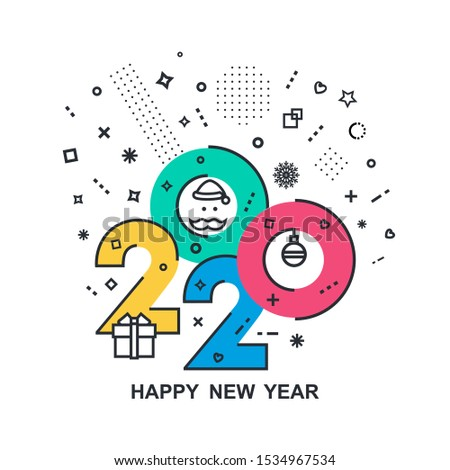 2020 Happy New Year trendy and minimalistic card or background. Modern Thin Contour Line Design Concept. Flat, outline. Isolated on white background. Vector illustration #1534967534