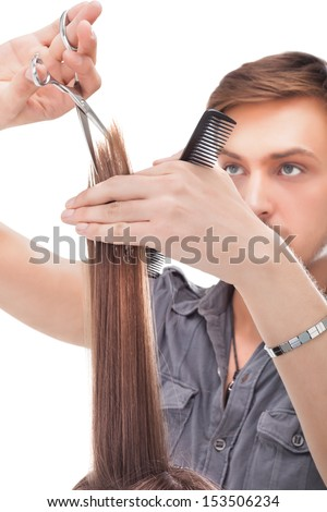 Professional hairdresser with long hair model #153506234