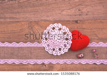 Greeting card for text signature. Birthday, Valentine's Day and just a declaration of love.  Velvet heart, openwork decorative hat, decorative braid,  beads with roses #1535088176