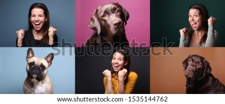Beautiful happy people with a pet in front of a background #1535144762