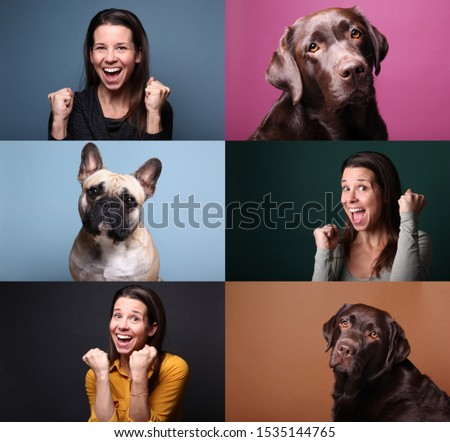 Beautiful happy people with a pet in front of a background #1535144765