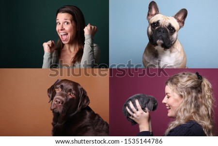 Beautiful happy people with a pet in front of a background #1535144786