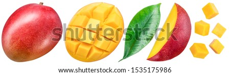 Set of mango fruits and mango slices. Isolated on a white background. Clipping path. #1535175986