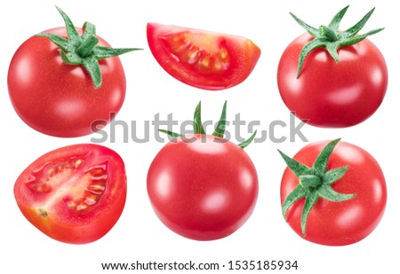 Collection of tomatoes and slices of tomatoes isolated on white background. File contains clipping path for each item. #1535185934