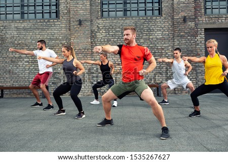 Introduction of combat sports combined with fitness, concept of fist punches Royalty-Free Stock Photo #1535267627